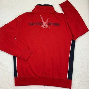 Nautica Red Full Zip Sweater US 1983 Embroidered